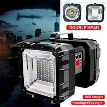 Rechargeable Searchlight Outdoor LED Flashlight Double Head Super Bright Light Searchlight Torch Work Lamp Spotlight Floodlight cheap swonuk CN(Origin) L2+35 patch lamp beads Portable Spotlight LED Bulbs 180° Wedge tact switch