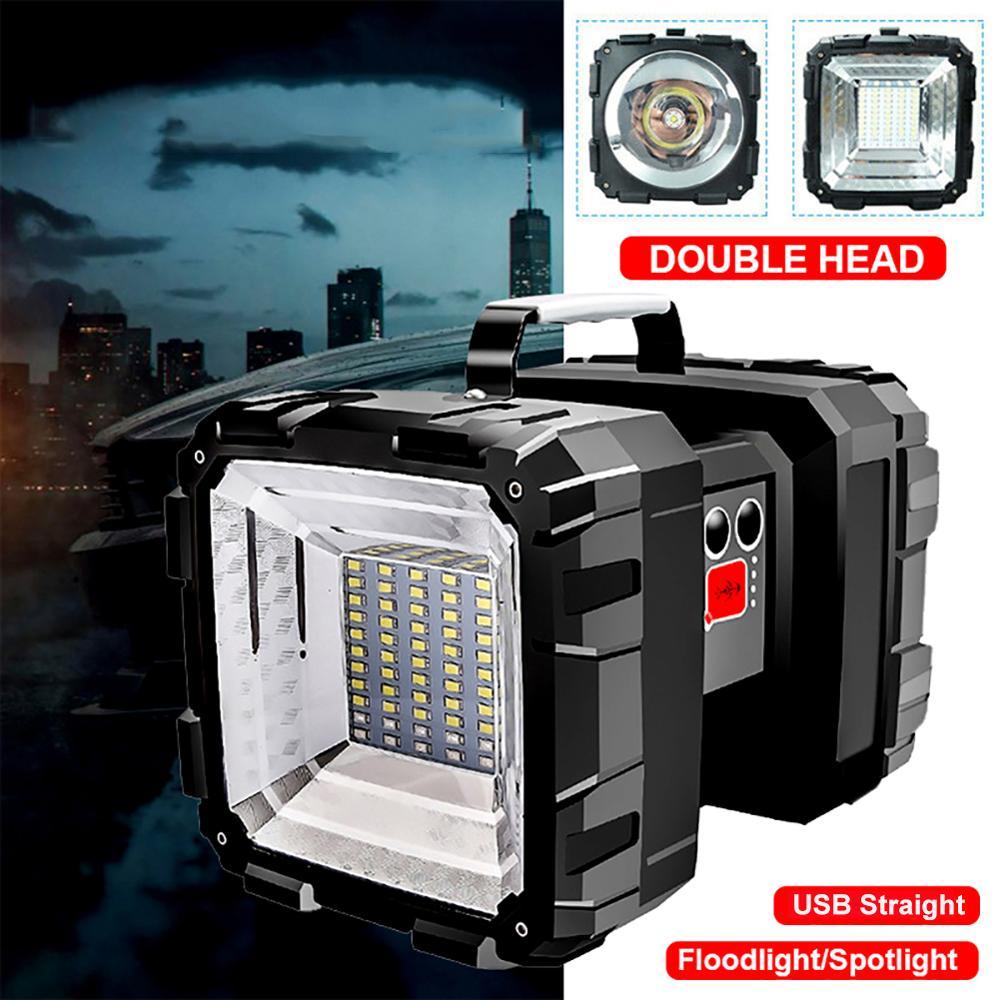 Перезаряжаемый поисковый светильник, наружный светодиодный светильник с двойной головкой, супер яркий светильник, поисковый светильник фо...