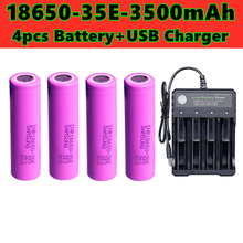2021 latest model 18650 3500 MAH replaces 3.7 V Li ion battery 18650 35e 3500 MAH flashlight battery with USB charger