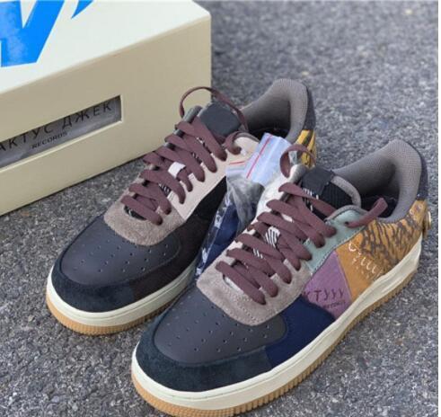 2020Travis Scott X Air Forced 1 Low CN2405-900 1s Cactus Jack AF1 Men Women Sports Shoes Sneakers Suede Best Quality