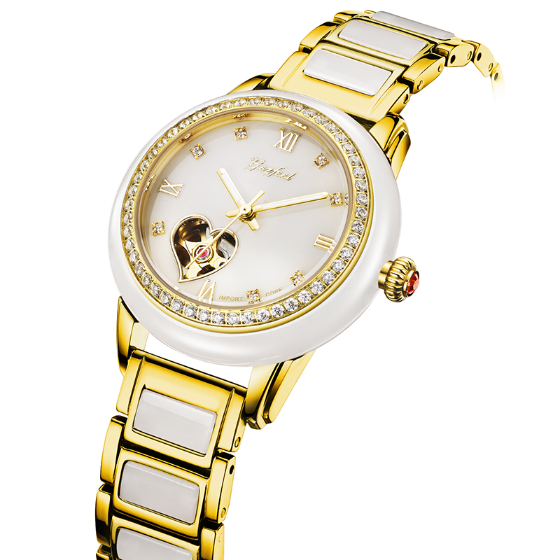 Luxury Fashion Carved Blank Jade Mechanical Watch Fully Automatic Mech Watches Suitable for Women's Gifts Relojes Para Mujer