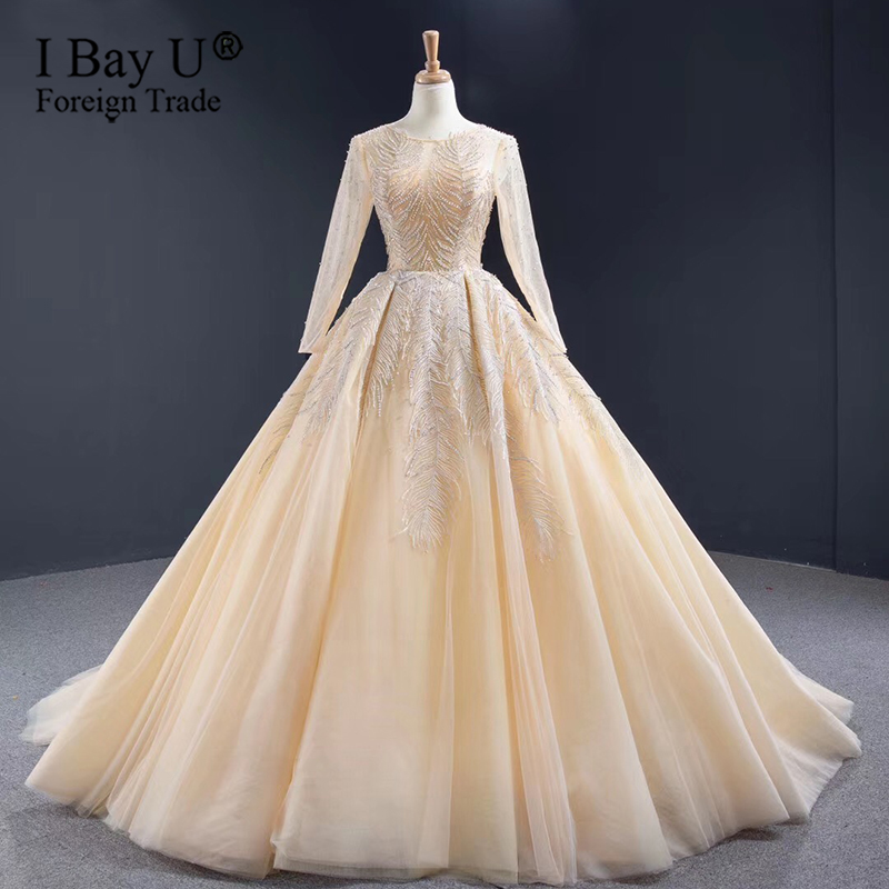 Luxury Full Beading Lace Muslim Wedding Dress 2020 Champagne Wedding Gown Long Sleeve Sparkle Lace Up Sheer Neck Bridal Gowns