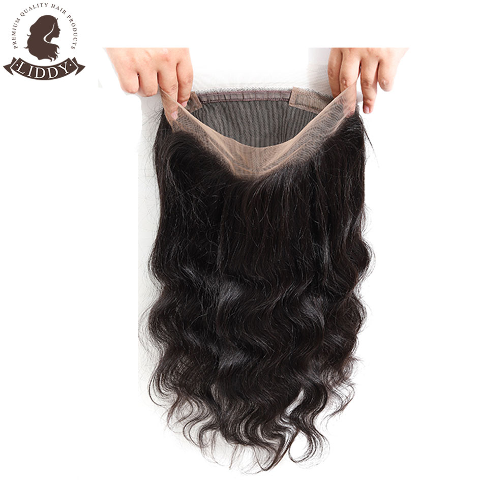 Liddy Body Wave 360 Lace Frontal 100% Human Hair Closure Brazilian Hair Weaving Natural Color Remy Hair Frontal Closure