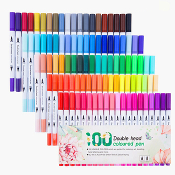 100 Pcs Colorful Pens Dual Tip Brush Marker Pen Watercolor Fine Liner Art Markers For Coloring Drawing Painting Calligraphy andstal double lines art markers pen domi out line pen fine liner marker fineliner calligraphy lettering pen color drawing pens