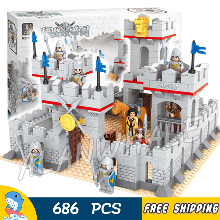 686pcs New Knights King's Castle Gate Guard Kingdom 27906 Model Building Blocks Girls Toys Kids Boys Compatible With Lago image