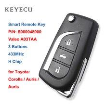 رقاقة Keyecu مزودة بمفتاح تحكم عن بعد 433 ميجاهرتز لسيارة Toyota Corolla Auris Aygo 2012 2013 2014 2015 2016 2017 S000048000 Valeo A03TAA