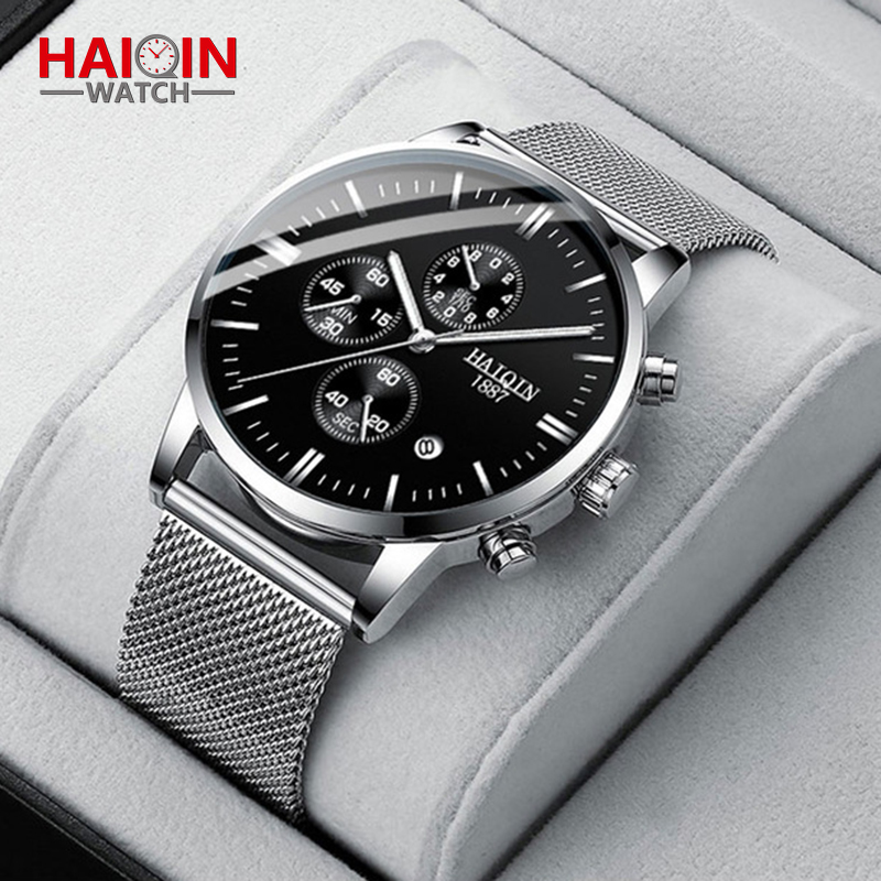 HAIQIN Mens Watches Luxury Quartz Wrist Watch for Men Stainless Steel Mesh Strap Stopwatch Waterproof Wristwatch New Man Clock