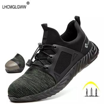 Buty robocze na zewnątrz oddychające Sneaker-smashing stalowa nasadka na palec buty bezpieczeństwa mężczyźni odporne na przebicie buty robocze BHP 36-48 tanie i dobre opinie LHCMGLGWW Pracy i bezpieczeństwa Mesh (air mesh) ANKLE Lace-up Stałe Dla dorosłych Pasuje prawda na wymiar weź swój normalny rozmiar
