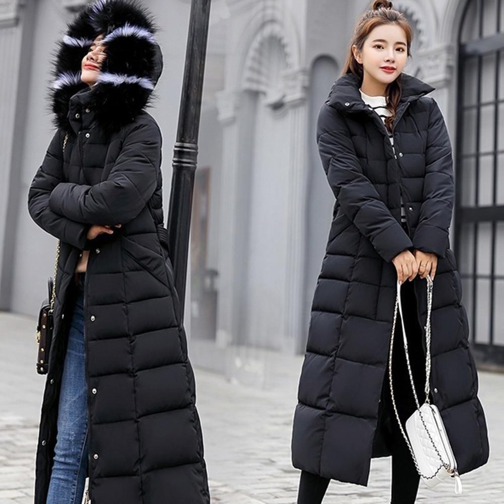 Women Warm Hooded Long Casual Cotton-padded Down Coat Long Sleeve Jacket Winter With Hat Thickening Outwear Hood пуховик женский