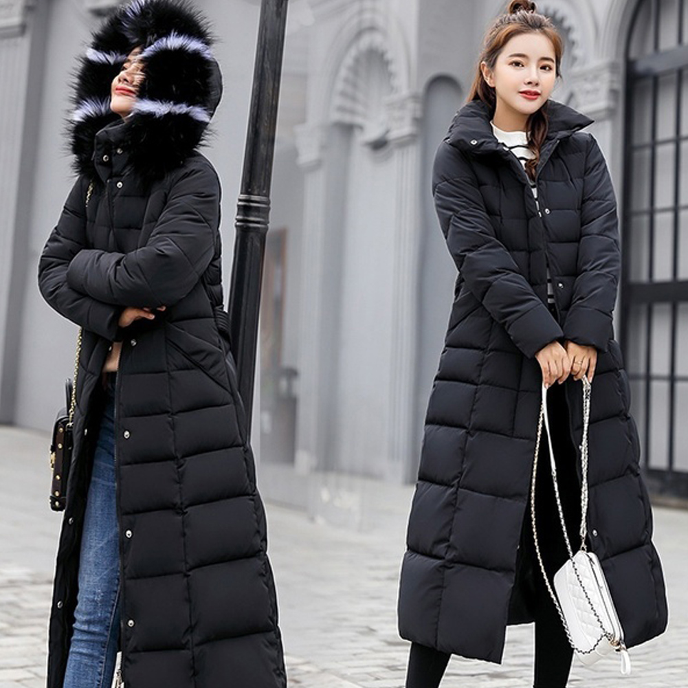 Women Warm Hooded Long Casual Cotton-padded   Down     Coat   Long Sleeve Jacket Winter With Hat Thickening Outwear hood пуховик женский