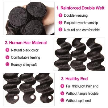 KLAIYI Hair Brazilian Body Wave With Closure 4 PCS Remy Hair Weave Bundles With Closure 100% Human Hair 3 Bundles With Closure 5