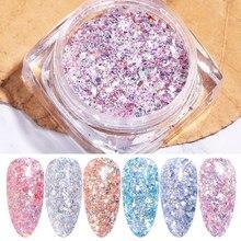 6 цветов в стиле разбитого стекла для ногтей блестки блестящие порошки хлопья 3D Кристальные пайетки для ногтей художественные талисманы ук...