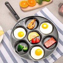 7 Holes Egg Frying Pan Omelet Cooker Griddle Pan Nonstick Silver Dollar Pancake Maker Coating Cookware With Induction Bottom(China)