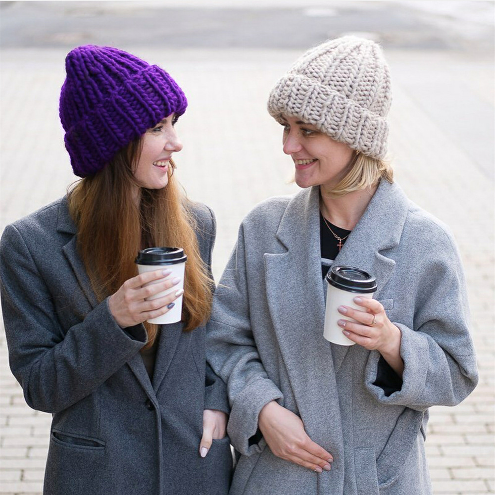 Women Winter Knitted Beanies Hat Thick Soft Warm Coarse Large Knitted Solid Hat Female Ice Ski Bonnet Skullies Beanies Hat Cap 28