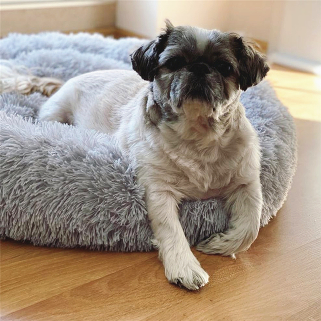 Long Plush Super Soft Dog Bed Pet Kennel Round Sleeping Bag Lounger Cat House Winter Warm Sofa Basket for Small Medium Large Dog 3