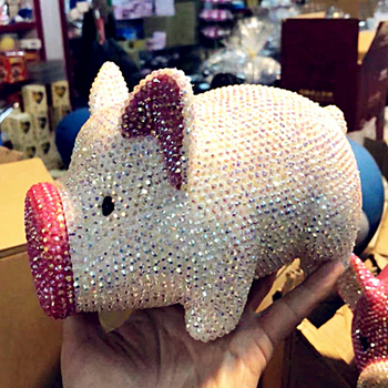 Rhinestone Bling Pink Pig Miniature Figurines Handmade Piggy Bank Kids Coin Bank Home Room Desk Decoration Kawaii Cabochons