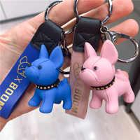 Mode Bulldog Keychain PU Leder Tier Hund Schlüssel kette Halter Tasche Charme Schmuckstück Schlüsselring Bulldog Tasche Zubehör Punk Stil Stift