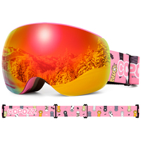 Magnetic Kids Ski Goggles for Children UV400 Anti fog Mask Glasses Skiing Girls Boys Snowboard Goggles with Personalized Straps