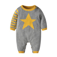 Christmas Clothes Winter Long Patchwork Gray Cotton Baby Boys Girls Onesie Romper Fashion Jumpsuit for Thanksgiving Gifts