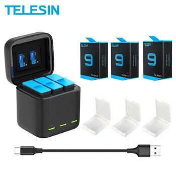 TELESIN batterie 1750 mAh pour GoPro Hero 9 3 voies lumière LED chargeur de batterie TF carte stockage de batterie pour GoPro Hero 9 noir  