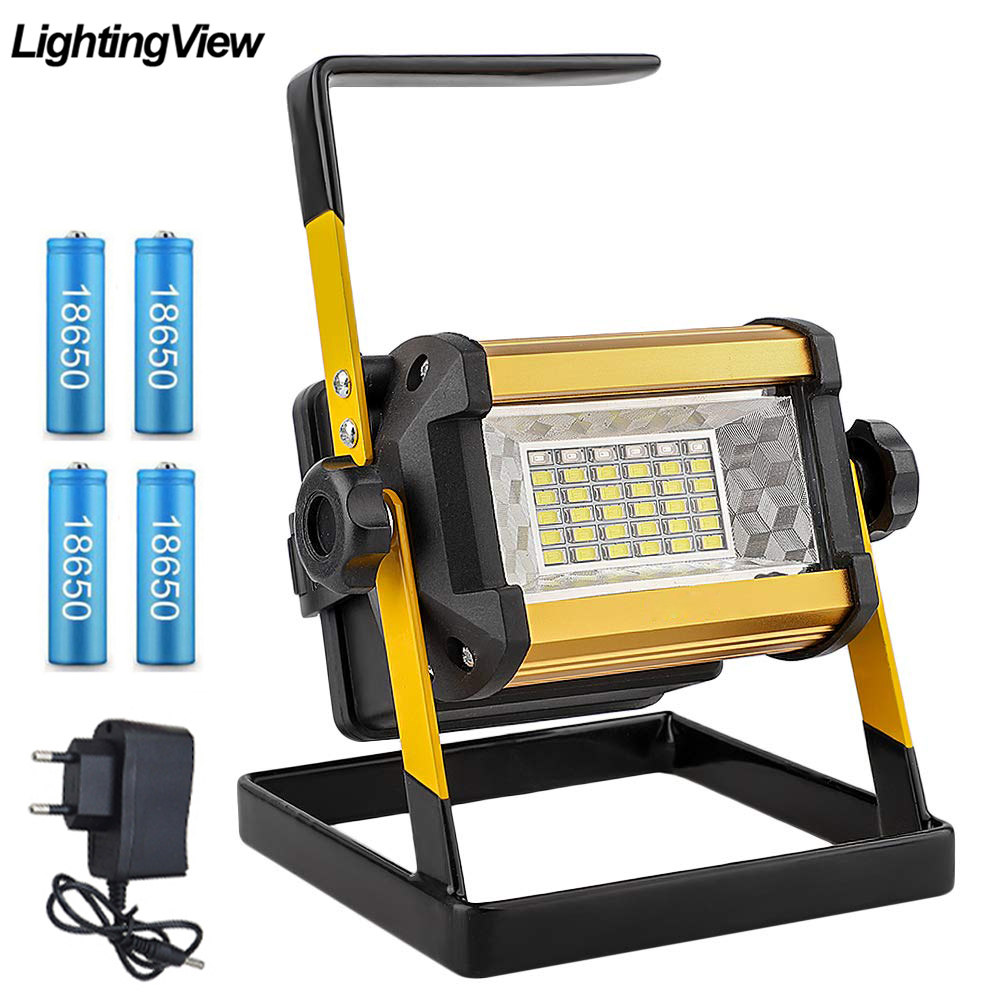 Floodlight 50W LED Spotlight Flood Light Outdoor LED Projector Reflector Bouwlamp Construction Lamp Rechargeable 18650 Batteries(China)