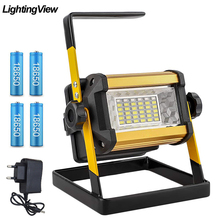 Flutlicht 50W Led strahler Flutlicht Im Freien LED Projektor Reflektor Bouwlamp Bau Lampe Wiederaufladbare 18650 Batterien