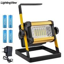 Foco reflector led recargable, proyector de luz para exteriores, lámpara de construcción con baterías 18650, 50W