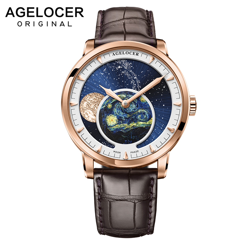 AGELOCER Men Watches Swiss Top Brand Luxury Mechanical Automatic Watch Power Reserve 80 Hour Business Moonphase Watch Waterproof image