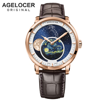 AGELOCER Men Watches Swiss Top Brand Luxury Mechanical Automatic Watch Power Reserve 80 Hour Business Moonphase Watch Waterproof