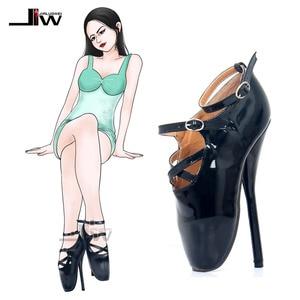 Image 1 - Туфли женские на шпильке, пикантные туфли на высоком каблуке 7 дюймов, с острым носком, ремешком на щиколотке, черные, красные танцевальные туфли