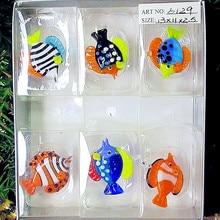 6pcs Custom hand-made murano glass fish figurines pendant aquarium decoration mini marine animal statue ornaments accessories