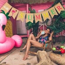 Blulu Hello summer burlap Banner Country Style Summer Flamingo Design Wreath National Flag Pool Party Beach