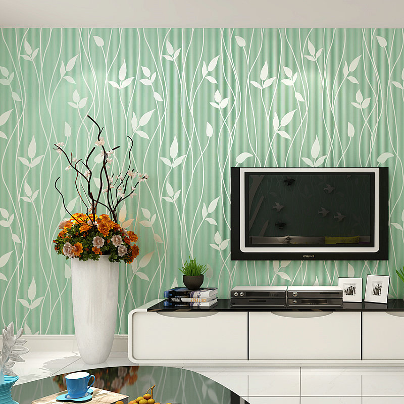 Green 3D Flocked Leaves Wallpaper Living Room Television Sofa Wall Wallpaper Bedroom Environmentally Friendly Nonwoven Fabric