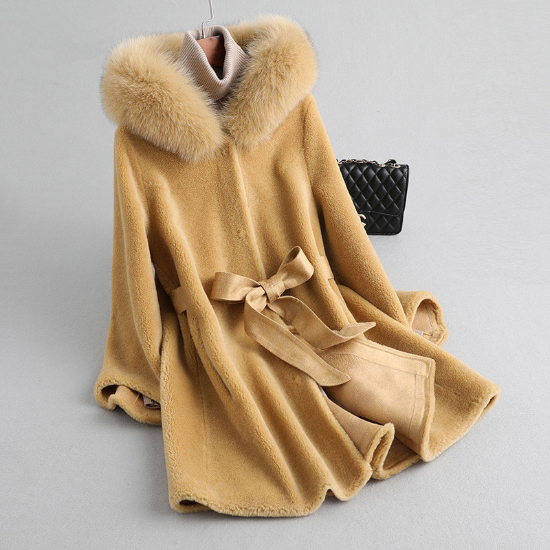 Coat Fur Real Winter Jacket Women Fox Fur Collar Sheep Shearling Fur Jackets 100% Wool Coat Female Suede Leather MY3848 S