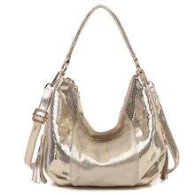 100% Real Leather Shoulder Bag Metallic Color Serpentine Embossed Handbag Female Casual Stylish Tote Hobos Cross Body Bags New