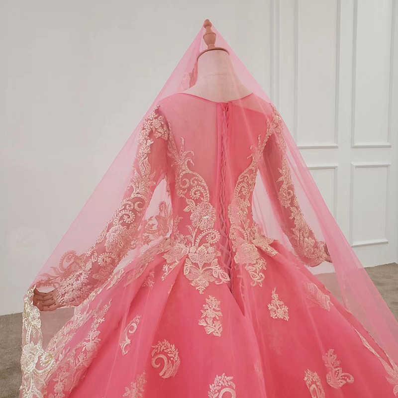 BGW 2201ht Da Sera del Vestito A Maniche Lunghe O-Collo di Applique Paillettes Pizzo Su Indietro Rosa Vestito da Promenade di Velare Abiti De Fiesta De noche