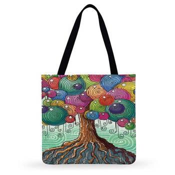 Women Casual Tote Watercolor Tree Art Print Bag Ladies Shoulder Handbags Outdoor Beach Foldable Shopping - discount item  54% OFF Special Purpose Bags
