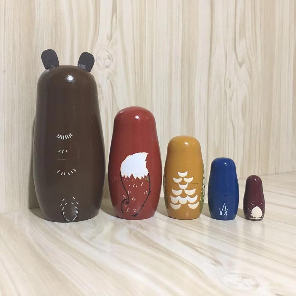 5 шт./компл. животных с медвежьими ушками Матрешка ручной работы деревянные русские Матрешки творческие игрушки для украшения дома ребенка ремесленных