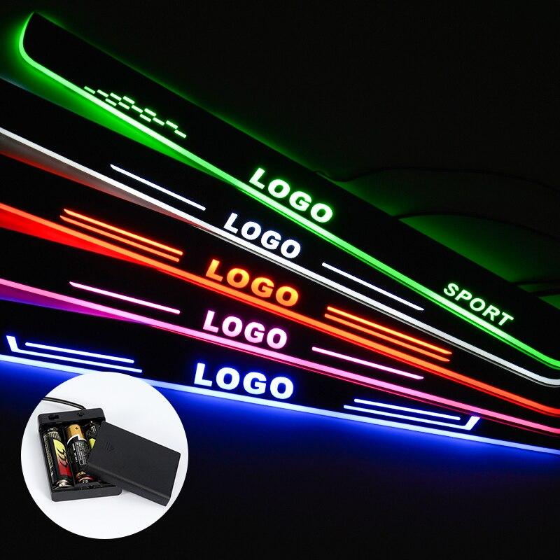 LED De Seuil De Porte Pour Mazda 3 2015 2016 2017 2018 Diffusé Lumière Plaque Acrylique Batterie de Seuil De Porte De Voiture Accessoires