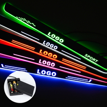 цена на LED Door Sill For Mitsubishi Pajero 2015 2016 2017 Streamed Light Scuff Plate Acrylic Battery Car Door Sill Accessories
