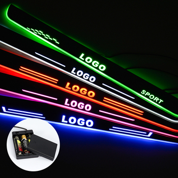 LED Door Sill For Renault Duster 2015 2016 2017 2018 Streamed Light Scuff Plate Acrylic Battery Car Door Sill Accessories image