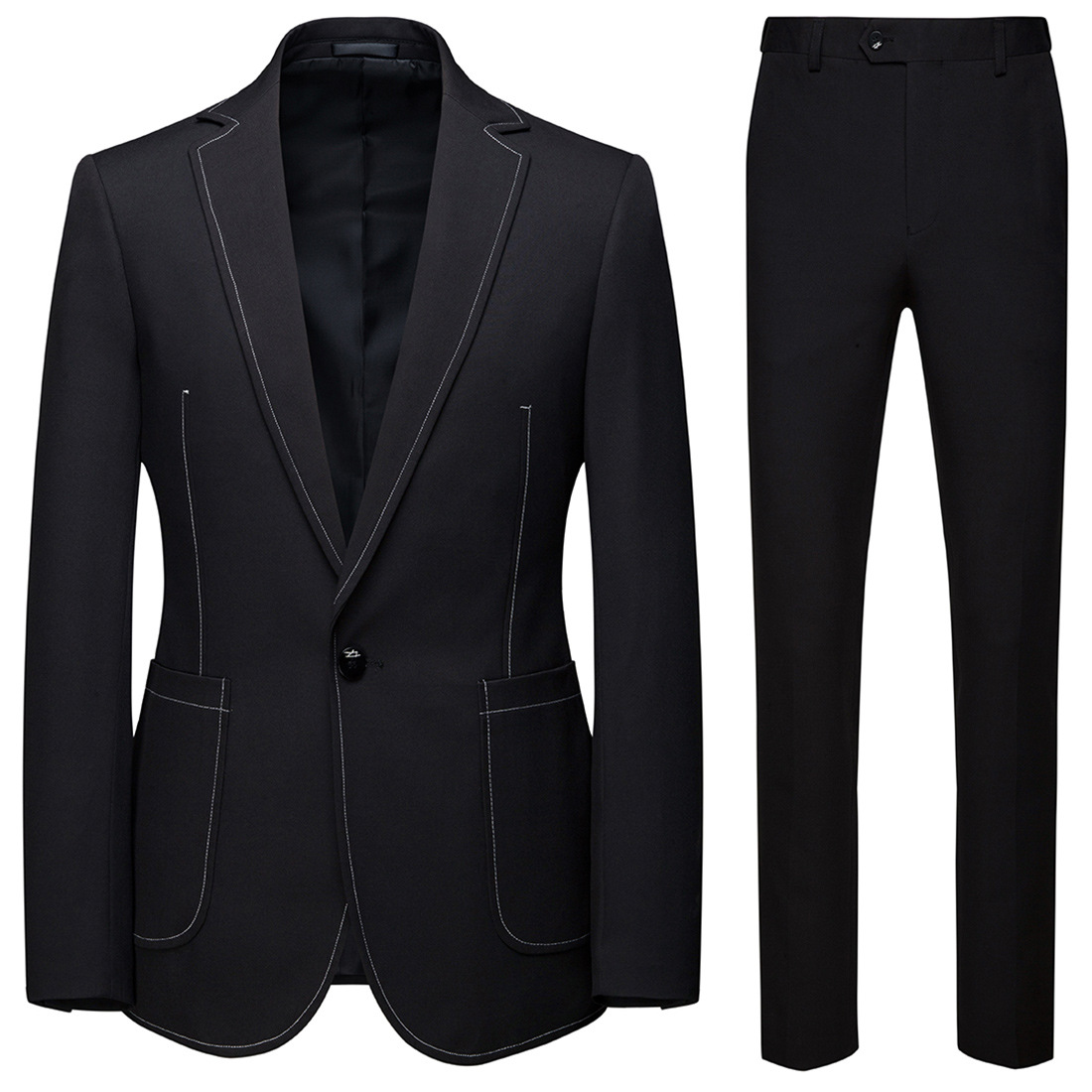 Boutique 19 New Style Europe And America Leisure Suit 2 Pieces Groom Best Man Wedding One-Button Suit Set Male Blazer