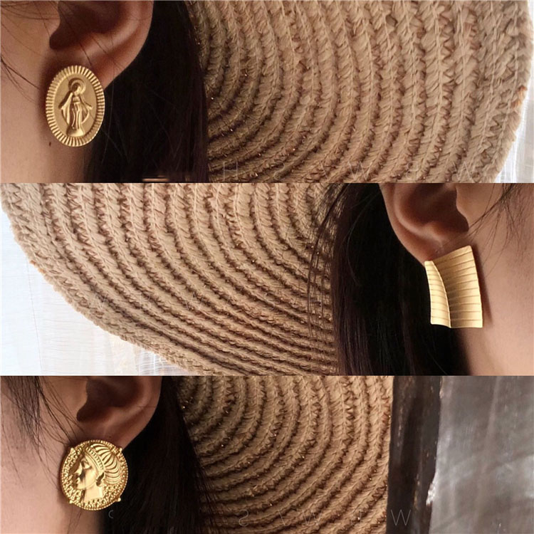 2019 vintage geometry figure profile women ear clip earrings without piercing in Clip Earrings from Jewelry Accessories