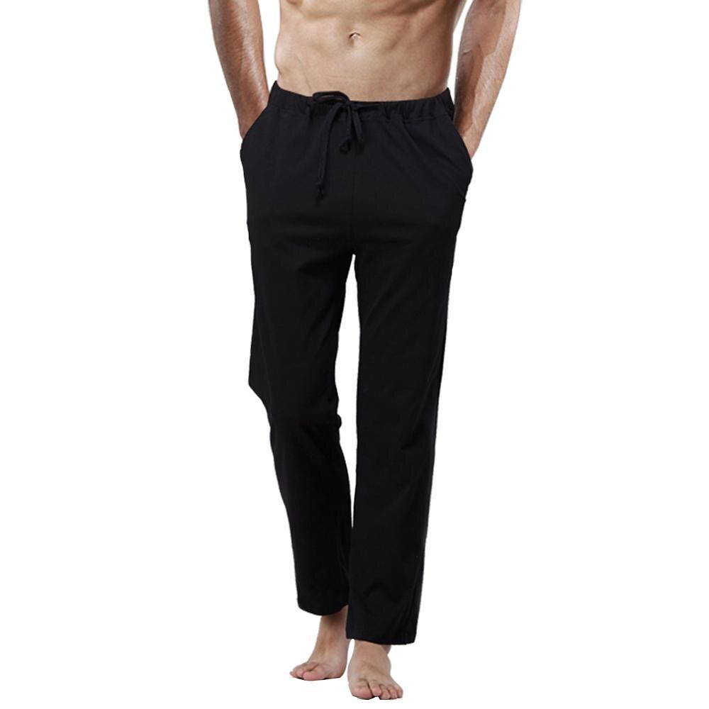 Free Shipping Men's Comfortable 100% Cotton Pants Lounge Sleep Trouser Pajamas Home Length pants Plus Size