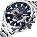 CURREN 8363, модные мужские часы из нержавеющей стали, Топ бренд, роскошные спортивные кварцевые часы с хронографом, мужские часы