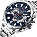 CURREN 8363, модные мужские часы из нержавеющей стали, Топ бренд, роскошный спортивный хронограф, кварцевые часы для мужчин, Relogio Masculino