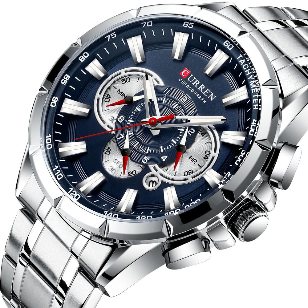 Curren 8363 moda masculina relógios com aço inoxidável topo marca de luxo esportes cronógrafo relógio de quartzo relogio masculino