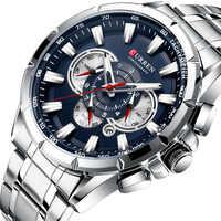 Relojes de moda CURREN 8363 para hombre con acero inoxidable reloj de cuarzo cronógrafo deportivo de lujo de primera marca reloj Masculino