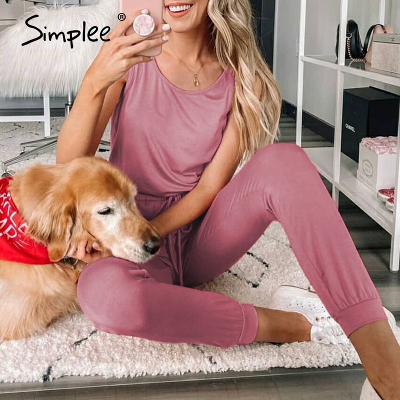 Simplee Casual Womens Solid Outdoor Activity Sports Jumsuit Sleepwear Home Tracksuit Summer Sleeveless Ladies Long Pants 2020