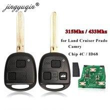 Chave remota do carro de jingyuqin com 4d67/4d68/4c chip para toyota camry land cruser 120 prado 2/3 botões 315mhz 433mhz toy43 chaves